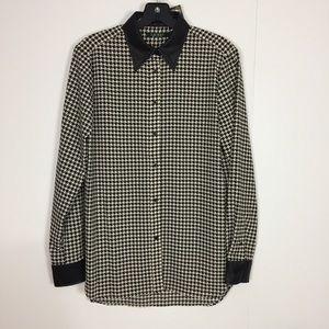 NWT ralph lauren button down shirt faux leather tr
